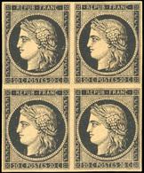 ** N°3b, 20c. Noir S/chamois. Bloc De 4. Nuance Exceptionnelle. 2 Timbres Avec Charnière. Pièce Superbe. - 1849-1850 Ceres