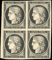 * N°3, 20c. Noir. Bloc De 4. Petit BdeF. 2 Ex. **. TB. - 1849-1850 Ceres