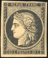 * N°3b, 20c. Noir S/chamois. Une Marge Courte. Signé Calves. TB. - 1849-1850 Ceres