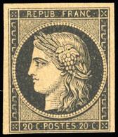 * N°3f, 20c. Réimpression. Marge Inférieure Courte. B. - 1849-1850 Ceres
