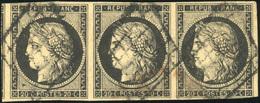 O N°3, 20c. Noir S/jaune. Bande De 3. Obl. Grille Avec Amorce D'un Voisin. TB. - 1849-1850 Ceres
