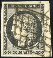 O N°3a, 20c. Noir S/blanc. Obl. Grille. Petit Bord De Feuille. SUP. - 1849-1850 Ceres