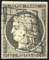 O N°3c, 20c. Nuance Gris-noir. Obl. Grille. TB. - 1849-1850 Ceres