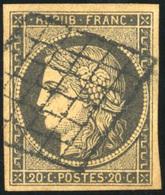 O N°3g, 20c. Noir S/chamois Très Foncé. Obl. Grille. B. - 1849-1850 Ceres