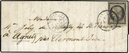 O N°3, 20c. Noir Obl. S/lettre Frappée Du CàD De PARIS 60 - Bureau L Du 1er Janvier 1849 à Destination D' AGNETZ - OISE. - 1849-1850 Ceres