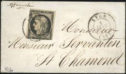 O N°3, 20c. Noir Obl. S/lettre Frappée Du CàD De LYON Du 1er Janvier 1849 à Destination De ST-CHARMOND. Timbre Touché En - 1849-1850 Ceres