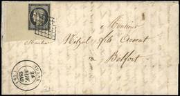 O N°3, 20c. Noir Avec Coin De Feuille Inférieur Gauche Présentant Le Fond De Sureté Bien Visible, Obl. Grille, S/lettre  - 1849-1850 Ceres