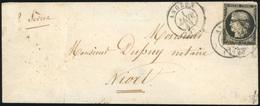 O N°3, 20c. Noir (déf.) Obl. S/lettre Frappée Du CàD D'ANGERS Du 1er Janvier 1849 à Destination De NIORT. Au Verso, Cach - 1849-1850 Ceres