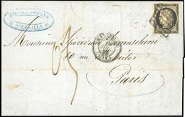 O N°3, 20c. Noir Obl. Grille S/lettre Frappée Du CàD De MARSEILLE Du 16 Juillet 1850 à Destination De PARIS. Lettre Avec - 1849-1850 Ceres