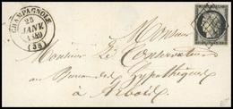 O N°3, 20c. Noir Sur Jaune Obl. Sur Lettre Frappée Du CàD De CHAMPAGNOLE Du 25 JANVIER 1849 à Destination De ARBOIS. Arr - 1849-1850 Ceres