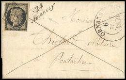 O N°3, 20c. Noir Obl. Grille Sur Lettre Frappée Du CàD Type 13 D'ORNANS Du 6 MAI 1850 à Destination De PONTARLIER + Curs - 1849-1850 Ceres