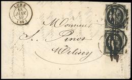 O N°3, 20c. Noir Paire. Obl. Plume + CàD Sur Lettre Frappée Du CàD De LURE Du 13 Janvier 1849 à Destination De MELISEY.  - 1849-1850 Ceres