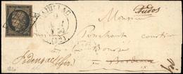 O N°3g, 20c. Noir S/chamois Très Foncé Obl. Grille S/lettre Frappée Du Grand CàD D'AURILLAC Du 9 Mai 1850 à Destination  - 1849-1850 Ceres