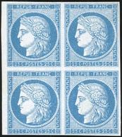 (*) N°4, 25c. Bleu. Essai. Bloc De 4. Papier épais. TB. - 1849-1850 Ceres