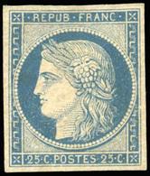 * N°4, 25c. Bleu S/jaunâtre. Anciennement Coté Dans Yvert. SUP. - 1849-1850 Ceres