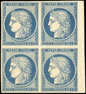 * N°4, 25c. Bleu. Bloc De 4. Bord De Feuille. Très Grande Fraîcheur. SUP. RR. - 1849-1850 Ceres