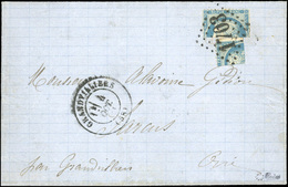 O N°37, 1/2 + 1/4 Du 20c. Bleu Obl. GC 1703 Sur Lettre Frappée Du CàD De GANDVILLIERS Du 4 OCTOBRE 1871 En Port Local. T - 1870 Siège De Paris
