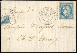 O N°37, 1/4 Du 20c. Bleu + 20c. Bleu Obl. AVP 2° Sur Lettre Frappée Du CàD De La GARE DE REIMS Du 21 OCTOBRE 1871 à Dest - 1870 Siège De Paris