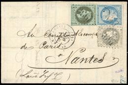 O N°41Bd+25+37, 3 Valeurs. Obl. G.C. 3667 Sur Lettre Frappée Du CàD De SAINT JEAN D'ANGELY Du 1er Septembre 1871 à Desti - 1870 Emission De Bordeaux