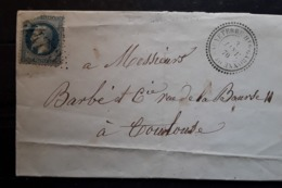 Lettre De SAUVETERRE HAUTE GARONNE GC 4753 / Empire Lauré No 29,IND 18 , Cachet Perlé,  3 Janvier 1870 > TOULOUSE - Poststempel (Briefe)