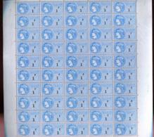 France ** Feuille De 50 Timbres Fiscaux 1f Bleu -- - Fiscaux