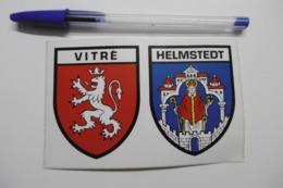 Autocollant Stickers - Blason Villes Jumelées VITRÉ Et HELMSTEDT - écusson Adhésif FRANCE ALLEMAGNE - Autocollants