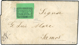 O TURQUIE. 1871. 2 Pi. ''ASIA MINOR / S.S.C°'' Vert. Obl. Sur Lettre Portant Le Cachet ''BELL'S / ASIA MINOR / STEAMSHIP - Turquie