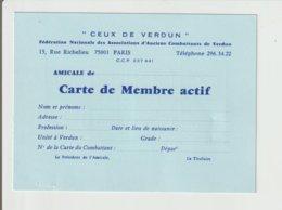 """CARTE DE MEMBRE ACTIF """" CEUX DE VERDUN """" :/ VIGNETTES AU VERSO - Documents"""