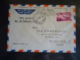1956 VIAGGIO PRESIDENTE DELLA REPUBBLICA NEGLI USA E CANADA VOLO SPECIALE BUSTA AFFRANCATA - 6. 1946-.. República