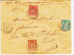 France, De Chateauneuf De Galaure ( Drome ) En 1887  Sur Sage Chargé 65cs Tb - Poststempel (Briefe)