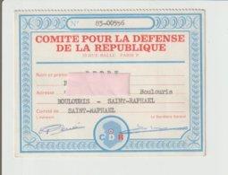 CARTE POUR LE COMITE DE LA DEFENSE DE LA REPUBLIQUE / - Documents