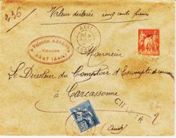 France, De AXAT ( Aude ) En 1901 Mixte Sage Et Mouchon Chargé Tarif 65 C  Tb - Marcophilie (Lettres)