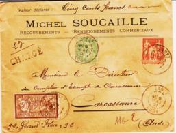 France, De LANET ( Aude ) En 1901, Sage/blanc Et Merson  Chargé Tarif 95 Cs   Tb - Marcophilie (Lettres)