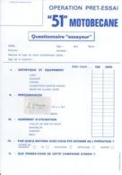 Questionnaire OPERATION PRET-ESSAI - 51 MOTOBECANNE - Verkehr & Transport