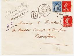 France, De Pepieux ( Aude ) Recommandé Mixte Sage /semeuse Tarif 35 Cs   Tb - Marcophilie (Lettres)