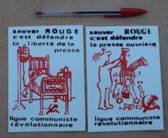 Autocollant 109, Politique, Lot De 2 Autocollants Ligue Communiste Révolutionnaire, Sauver Rouge - Stickers