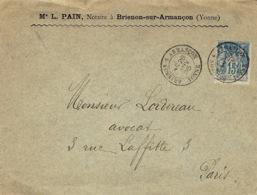 1895- Enveloppe Affr. 15 C Sage Oblit. Cad 18 De Brienon-sur-Armançon ( Yonne ) Type Baton - Marcophilie (Lettres)
