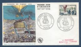 France FDC - Premier Jour - Ballon Postal - Journée Du Timbre - Paris - 1955 - 1950-1959