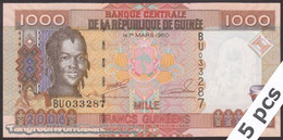 TWN - GUINEA 40 - 1000 1.000 Francs 2006 DEALERS LOT X 5 - Prefix BU UNC - Guinea