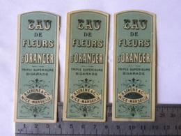 3 Etiquettes - Eau De Fleurs D'Oranger - Triple Supérieure BIGARADE - B. Seréne & Cie - Nice Marseille - Labels