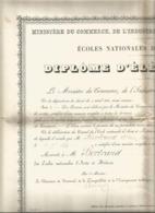 VP.0585/ Ecole Nationale D'Arts & Métiers D'Aix - Diplôme D'élève Breveté - Bertrand Gaillac Tarn - 1897 - Diplômes & Bulletins Scolaires