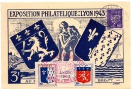 HERALDIQUE = 69 LYON 1943 = CARTE MAXIMUM + CACHET Illustré ARMOIRIES + VIGNETTE BREST - Maximumkarten