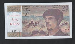 Billet De France 20 F Debussy Sans Défaut Surchargé 3 , 05 Euros De Complaisance ? - 1962-1997 ''Francs''