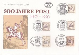 Joint Issue - Card W/stamps From DDR, Belgium, Germany, Berlin, Austria 500 Jahre Post (LAR2-Q) - Emissions Communes