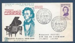 France FDC - Premier Jour - Chopin Frédéric - Pianiste - Paris - 1956 - FDC