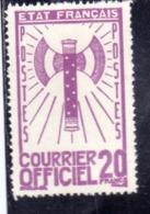 FRANCIA FRANCE 1942 1943 SERVICE SERVIZIO COURRIER OFFICIEL 20f MNH - Nuovi