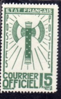 FRANCIA FRANCE 1942 1943 SERVICE SERVIZIO COURRIER OFFICIEL 15f MNH - Nuovi