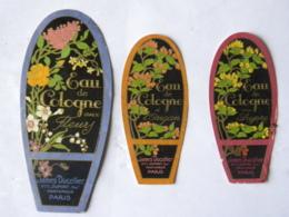 3 Etiquettes - James Ducellier, Vve Dupont Suc - Parfumeur Paris - Eau De Cologne Aux Fleurs, à L'Origan, Au Chypre - Labels