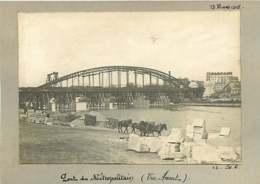 011019C - PHOTO 1905 PARIS Pont Du Métropolitain Vue Amont - Pierres Graviers Chevaux - Stations, Underground
