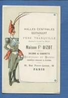 RARE Paris RESTAURANT Père Tranquille BIZOT Rue Pierre Lescot Chromo Format Menu Pesronnage Tête Pinces  Homard - Cromo